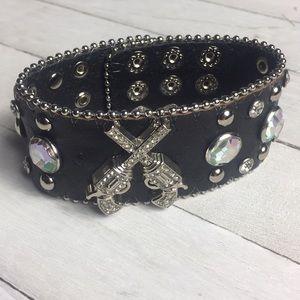 Western Style Bracelet- Black and Rhinestones